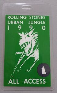 1990 ROLLING STONES BACKSTAGE PASS URBAN JUNGLE ALL ACCESS
