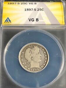 1897-S Barber Quarter ANACS VG-8 Key Date
