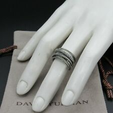 David Yurman Ring Crossover 1 line Pave Diamond Size 6