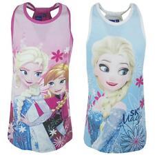 Girls Vest Tunic Top Disney Frozen Anna Elsa Magic Tank Tee Kids 4 to 8 Years