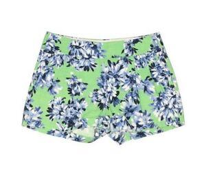 J.Crew Factory SZ 0 Women's Green Blue Floral Linen Pockets Shorts