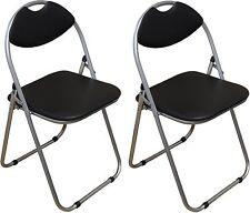 2 X Harbour Housewares Black Padded Folding Desk Chairs