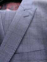 New 44R Men's Blue Check Vest Suit 100% Wool Super 120 Made In Italy R/$1295