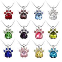 EG_ 1Pc Cartoon Animal Dog Cat Paw Pendant Necklace Women Fashion Jewelry  Littl