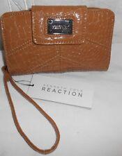 Kenneth Cole Women Tan Croco Clutch Wristlet ID Tech Device Wallet NWT