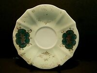 Ucagco China Saucer Hand Painted Light & Dark Green Gold Flowers Trim