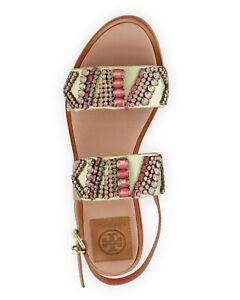 Tory Burch Pink Tanner Jeweled Sandals Size 9 Dust Bag included