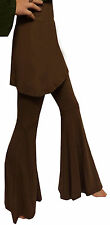 BROWN FLARED TROUSERS  MINI SKIRT COMBO FLARES LEGGINGS S M 8 10 12 hippie boho