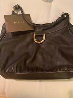 Authentic VGUC Large Brown Leather Gucci D- Ring Hobo Bag Purse Handbag Satchel