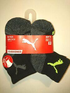 "Brand New Boy's (Shoe Size 4-8.5) ""PUMA"" Quarter Crew Cushioned Socks Small 6pk."
