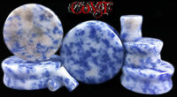 "Pair 8g-1"" Blue Spot Jasper  Saddle Plugs Tunnels Organic Stone Natural Gauges"