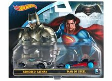 BNIB Hot Wheels DC Die Cast Car 2 pack: Armoured Batman & Superman Man of Steel