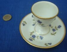 V24 Rare Coquetier sur Soucoupe Porcelaine Décor Barbeaux Ancien & Fait Main OR