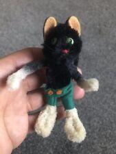 Rare 1950s/60s Schuco Black Cat Mini Mascott Doll 3.5� Mohair Chenille Nice Nr