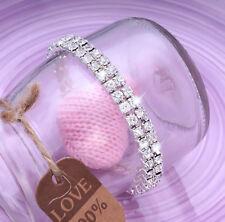 Ladies 2x Row Sparkly Crystal Rhinestone Bracelet Bangle For Women Bride Wedding