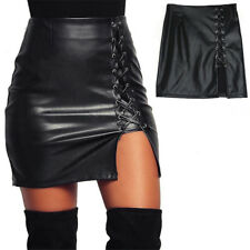 Damen PU-Leder Schwarz Stift hohe Taille kurzer Minirock Stretch Party