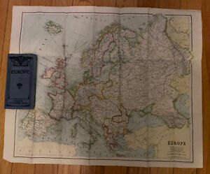 Europe Philips authentic vintage map London Geographical Institute Early 1920s