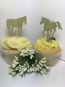 12 HORSES IN GOLD GLITTER Cupcake Pick Toppers Horse Pick Flags Cake Decorations
