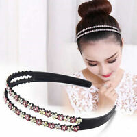 1Pcs Bling Double Rows Crystal Rhinestone Headband for Women Girl Thin Hair Hoop