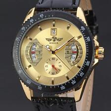 WINNER Mens Luxury Gold Dial Automatic Mechanical Leather Men Sport Wrist Watch