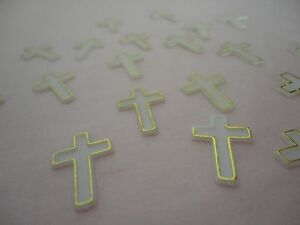 144 Plastic White & Gold Cross Party Embellishment