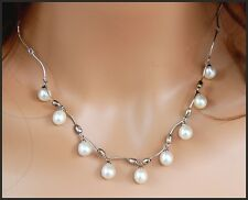 """Retired JTV Creamy White Cultured Pearl Drop Sterling Silver 18"""" Necklace In Box"""