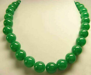 "Long 22""25""36"" Natural 10mm Green Jade Round Gemstone Beads Necklace AAA"