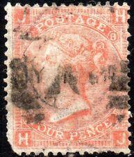 1865 Sg 95 4d deep vermilion 'HJ' Plate 8 with Duplex Cancel Good Used