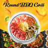 Round Iron Korean BBQ Grill Plate Barbecue Non-stick Pan Holder Cooker