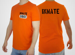 Prison Inmate T-shirt County Jail Tshirt Psycho Insane Top Costume Halloween Mad