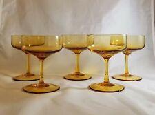 New ListingItalian Handblown Pee Dee Glassware Amber Champagne Tall Sherbert Set Of 5 Rare