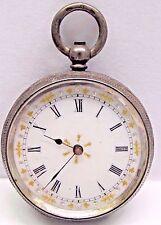 Antique BEAUTIFUL SILVER ENGRAVED/FANCY DIAL Pocket Watch Key Wind