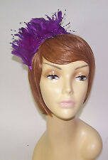 PURPLE SATIN HEAD BAND PURPLE FEATHERS & BEADS FOR LADIES OF SOCIETY DERBY DAY