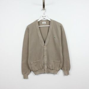 AC95 Lacoste Men Greyish Brown Button Front Cardigan Sweater Coton Knit Size 3 S