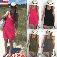 US Fashion Women Casual Mini Dress Tank Sleeveless Tops Blouses Vest Dress Solid
