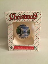 """vintage Fly Fishing """"Peace on Earth"""" Round Glass Christmas Tree Ornament w/ box"""