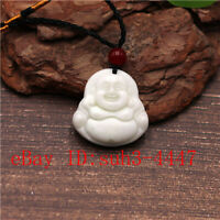 Natural White Chinese Jade Maitreya Pendant Necklace Charm Jewelry Amulet Gifts