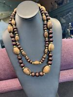 """Vintage Bohemian Wood Beaded Statement Necklace 3 Strand  Brown Tan 22"""""""