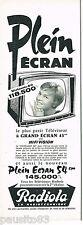 PUBLICITE ADVERTISING 075  1959  RADIOLA   hi-fi vision téléviseur PLEIN ECRAN