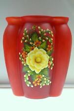 Fenton Vase PERSIMMON CASED SATIN Magnolia Floral Swarovski OOAK FreeUSAshp