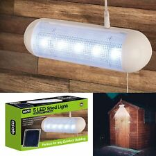 Solar Powered Shed Light 5 LED Bright White Water Resistant Rechargeable Outdoor