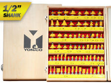 """70 Bit Professional C3 Carbide Router Bit Set - 1/2"""" Shank - Yonico 17702"""