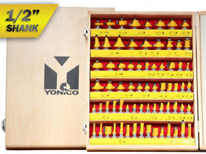 "70 Bit Professional C3 Carbide Router Bit Set - 1/2"" Shank - Yonico 17702"