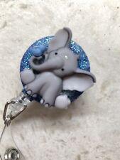Cute Baby Elephant ID Badge Holder Retractable Reel Clip, new grad Gift Nurse
