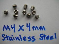 Ten (10) M4X4mm 18-8 Stainless Steel Set/Grub Screws with a Flat non-marring end