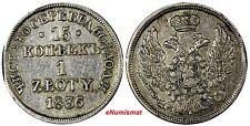 POLAND RUSSIA Nicholas I Silver 1836 MW 1 Zloty 15 Kopecks  LARGE CROWN  C# 129