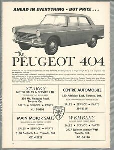 1964 PEUGEOT 404 advertisement, Canadian print ad, Toronto dealerships