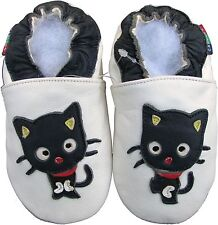 shoeszoo black cat white 0-6m S soft sole leather baby shoes