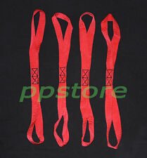 """FOUR (4x) Premium SOFT 1""""x18"""" Motorcycle ATV Tie Down Extension Loops Straps RED"""
