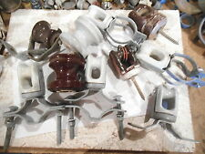 LOT OF (10) OVERHEAD WIRE POLE INSLUATORS (A COUPLE HAS A SMALL CHIP) - USED